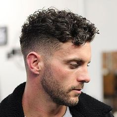 Curly Hair Fringe with Low Fade and Beard