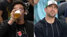 Brew-haha: Yelich, Rodgers chug at Bucks game - Packers quarterback Aaron Rodgers and Brewers outfielder Christian Yelich joined Packers lineman Da - Arron Rodgers, Funky Buddha Brewery, Brew Haha, Alvin Kamara, The Fitz, Christian Yelich, Chugs