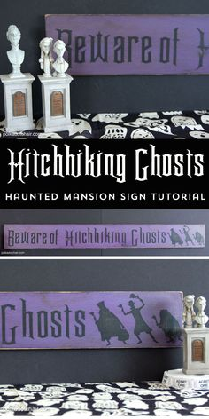 Best Ideas DIY and Crafts Inspiration : Illustration Description How to make a Haunted Mansion Sign, Beware of Hitchhiking Ghosts, a Haunted Mansion Craft and Decoration Idea -Read More – Fun Halloween Crafts, Halloween Home Decor, Halloween Signs, Halloween House, Holidays Halloween, Halloween Decorations, Halloween Party, Halloween Ideas, Halloween 2020