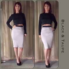 NEW IN PACKAGE 2 PC SKIRT SET New in package 2 PC skirt set in taupe/ gray & black. Long sleeve black crop top with mock turtleneck & a very simple pencil skirt design with flat elastic waistband in black offering a nice definition for the waist as it picks up the black from the top. This is a very simple set but offers a nice look to accessorize!  A soft stretch knit fabric in a thinner fabric makes this outfit very comfortable to wear!  Fits size M-L best! Dresses Midi