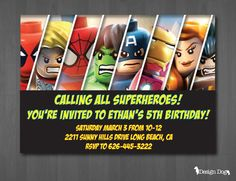 Superhero Birthday Invitation By TheDesignDog On Etsy 999 Lego Invitations