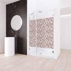 Choose your Shower or Bath Enclosure and customize it with one of the more than 200 available designs Glass Printing, Shower Enclosure, All The Colors, Colours, Curtains, Interior Design, Mosaics, Sunsets, Geometry