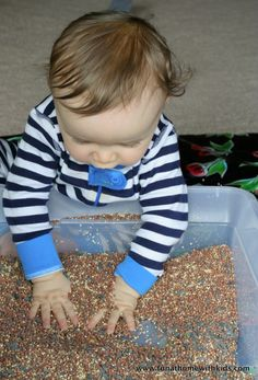 Bird Seed Sensory Play for Baby