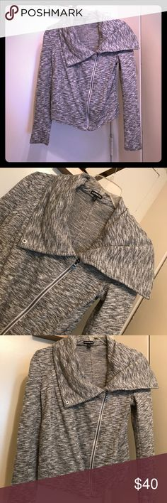 Asymmetrical grey sweater jacket Grey asymmetrical sweater jacket with heavy fold over neck... worn twice. Express Jackets & Coats