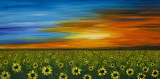 Title:Sunflower Sunset - Flower Art By Sharon CummingsArtist:Sharon CummingsMedium:Painting - Acrylic On Canvas