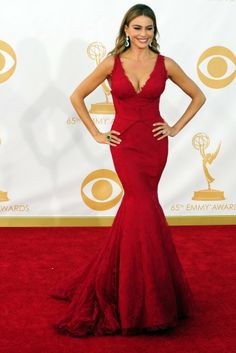 Sofia Vergara in Vera Wang On the Red Carpet at the 65th Primetime Emmy Awards [Photo by Amy Graves]