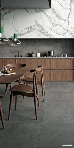 New Kitchen Marble Concrete Ideas Home Decor Kitchen, New Kitchen, Kitchen Wood, Kitchen Grey, Kitchen Cabinets, Grey Cabinets, Kitchen With Grey Floor, Kitchen Ideas, Gray Floor