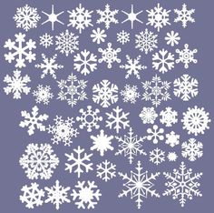 Vinyl SNOWFLAKES wall decals Set of 50 - Christmas Snowflakes - Winter Snowflakes
