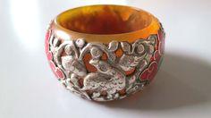 Old tribal Sterling silver amber resin bakelite bracelet bangle cuff from Kathmandu - Nepal Himalaya India Tibet