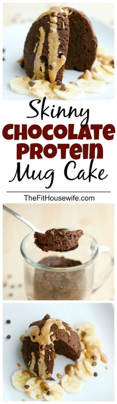 Skinny Chocolate Protein Mug Cake. A quick and healthy snack recipe that tastes like dessert!