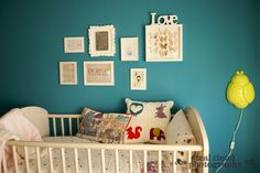 Pretty #turquoise #nursery with #gallerywall