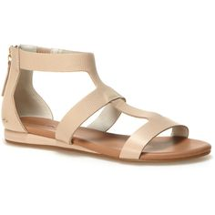 87fbb4370a Lacoste Women's Atalaye Zippered Leather Sandals ($120) ❤ liked on Polyvore  featuring shoes, sandals, sandals sandals, tan leather sandals, lacoste, ...