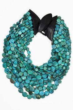 Monies turquoise disc bead necklace - turquoise