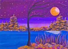 Sunny Moon And The Starry Night Painting