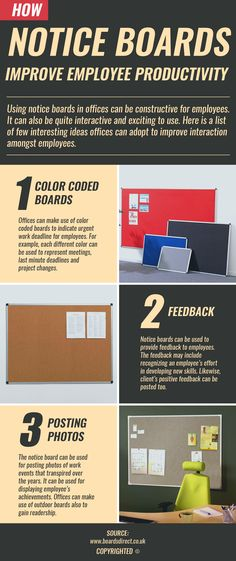 How use of notice board increase work productivity?  Using notice boards in offices can be constructive for employees. There are ways to use boards to make it more interesting. Few examples are including color coding, feedback, posting photos.