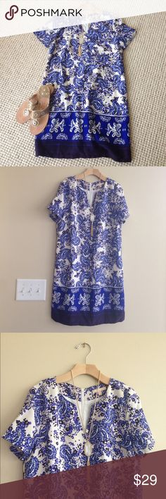 NWT! Stitch Fix Under Skies Blue Shift Dress s NWT! Stitch Fix Under Skies Shift Dress. Blue And White Paisley print. Small. Gorgeous dress to wear everday or to your next fancy occasion! Under Skies Dresses Mini
