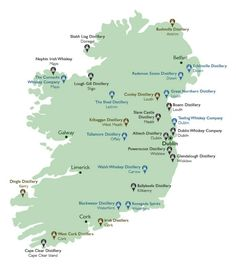 The new map of Irish distilleries. It's come along way in thirty years from just one southern Irish distillery left in 1987!