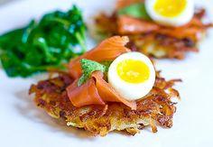 Potato Latke with Smoked Salmon, Soft-Boiled Quail Egg & Watercress Cream