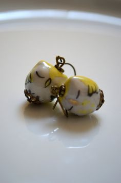 Pale Yellow Owl Earrings  Retro   Whimsical  by GlassPoppies, $10.00