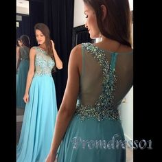 Long sequins prom dress, ball goen, beautiful baby blue chiffon prom dress for 2016 #coniefox #2016prom