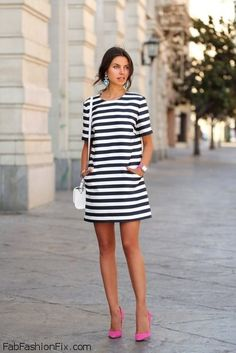 Striped mini dress and pink heels for summer outfit. #pink #stripes