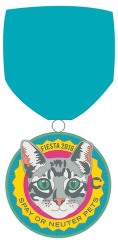 2016 Fiesta Medal - The Cannoli Fund's cat medal featuring Screwy, a friendly community cat who was neutered and vaccinated thanks to the nonprofit. Buy his medal or the 2016 dog medal for $8 at thecannolifund.bigcartel.com. All proceeds go to fund the programs of the nonprofit organization. #fiestasanantonio #fiesta2016 #fiestamedals