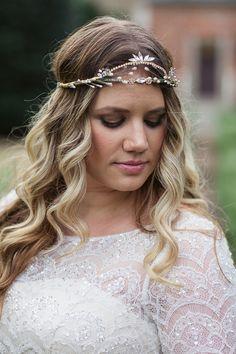Beaded Lace Wedding Dress with a Bridal Headpiece | Soul Child Photography | http://heyweddinglady.com/colorful-bohemian-wedding-fall/