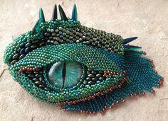 Green Dragon's Eye with Brow Ridge Dragon by bellbookndragon