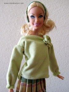 Long sleeves green shirt for Barbie Tutorial