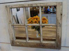 Reclaimed wood original finish antique repurposed rustic 6 pane window mirror.  FREE SHIPPING!