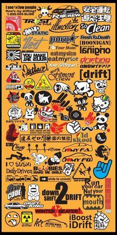 Car Decals, Vinyl Decals, Jdm Stickers, Bike Stickers, Jetta Vw, Ok Design, Graffiti Doodles, Nissan Skyline Gt, Sticker Bomb