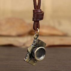 Barato Vintage bronze camera pingente colar de cordão de couro corda couro qualidade de longo colar masculino mulheres colar, Compro Qualidade Colares com pingente diretamente de fornecedores da China:  Detalhes do produto