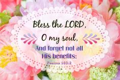 """""""Bless the LORD, O my soul, And forget not all His benefits: Who forgives all your iniquities, Who heals all your diseases, Who redeems your life from destruction, Who crowns you with lovingkindness and tender mercies, Who satisfies your mouth with good things, So that your youth is renewed like the eagle's."""" Psalms 103:2-5 NKJV"""