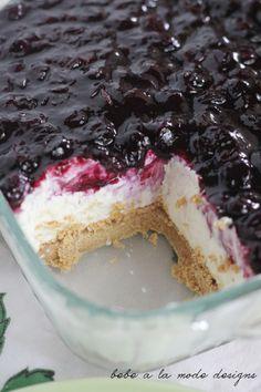 No Bake Cheesecake Bars with Fresh Blueberry Sauce.