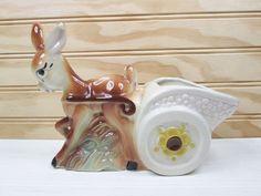 Vintage Donkey Cart Planter Figural Pottery Retro Ceramic