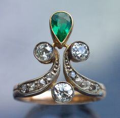 This is not contemporary - image from a gallery of vintage and/or antique objects. BELLE EPOQUE  Ring  Gold Silver Emerald Diamond