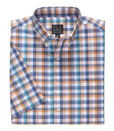 Traveler Collection Traditional Fit Button-Down Collar Patterned Short-Sleeve Sportshirt CLEARANCE