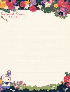"San-X Sentimental Circus ""Alice in Wonderland"" Letter Set ( Pen Pal Letters, Cute Letters, Sanrio Wallpaper, Hello Kitty Wallpaper, Origami Sheets, Sentimental Circus, Letter Set, Writing Paper, Note Paper"