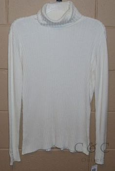 Charter Club Petite Large PL NEW Ribbed Turtleneck Sweater Ivory Stretch 608