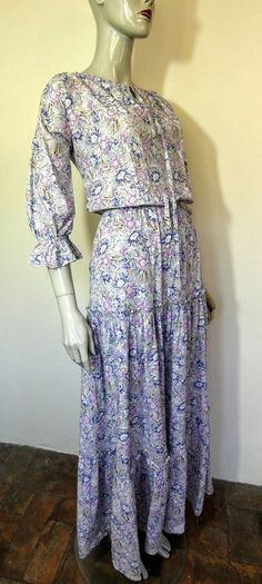 "LAURA ASHLEY ""Made In Wales"" Purple, Floral, Tiered, Gypsy, Peasant, Maxi Dress, Size 14 Laura Ashley, Ashley Blue, Wales, No Frills, Size 14, Gypsy, Purple, Floral, Pretty"