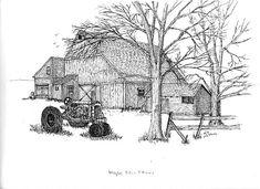 New maple tree drawing inspiration ideas Ink Pen Drawings, Love Drawings, Sketchbook Drawings, Sketching, Tree Sketches, Tinta China, Wood Burning Patterns, Old Barns, Country Barns