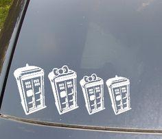 OMG          Tardis Family Car Sticker. $10.00, via Etsy.
