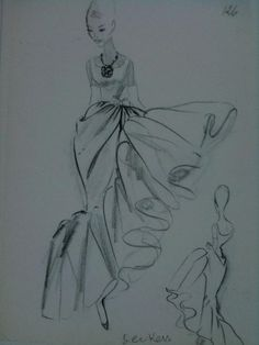 House of Balenciaga studio drawing of evening dress of brown silk gauze, Summer 1962 by stellaspace, via Flickr