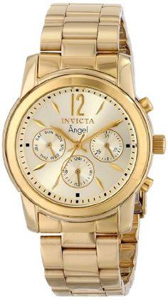 Invicta 12551 Women's Angel Gold Plated Stainless Steel Champagne Dial Swiss…