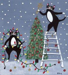 Christmas Tree Cats Original Folk Art Painting by KilkennycatArt Noel Christmas, Christmas Animals, Christmas Cats, All Things Christmas, Winter Christmas, Xmas, Cat Cards, The Night Before Christmas, Whimsical Art