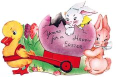 Vintage Easter Card Bunnies Duck Garden Cart by PaperPrizes