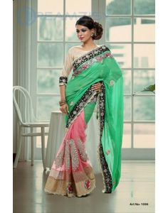 Parrot Green and Pink Net Saree with Blouse