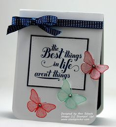 "♥♥♥ this beautiful card by Ann Schach, featuring the Stampin' Up! stamp sets ""Summer Solstice"" and ""Feels Good"".  After seeing Ann's interpretation of the Summer Solstice butterflies, I have fallen in love with this stamp set!"