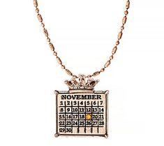 Personalized Rosetone Calendar Crown Charm Necklace