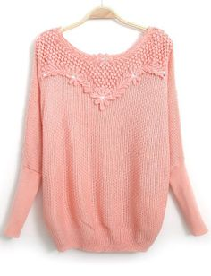 Pink Long Sleeve Embroidered Bead Knit Sweater - Sheinside.com